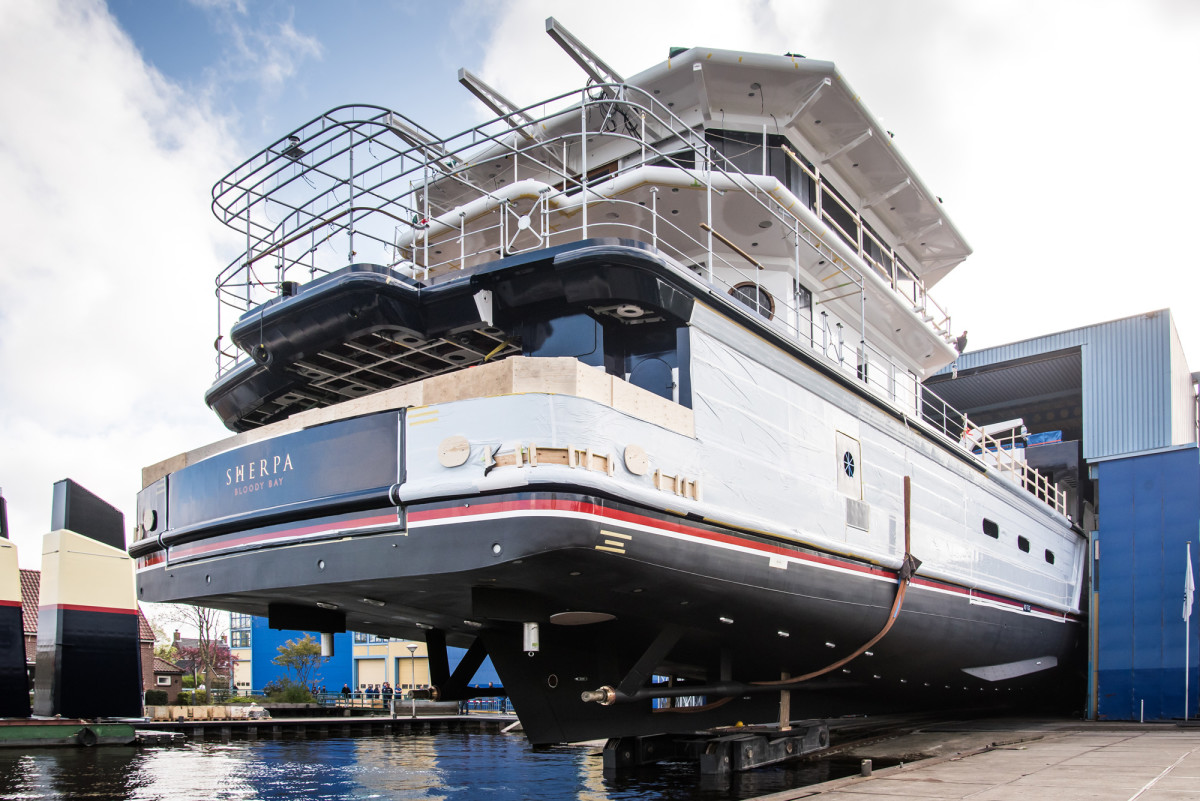 Feadship's 243-foot expedition motoryacht Sherpa launches at the Royal Van Lent facility in Kaag.