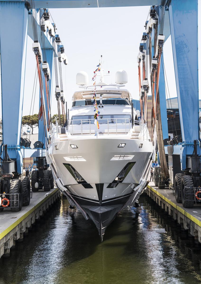 The 163-foot (49.8-meter) custom motoryacht Blake is launched