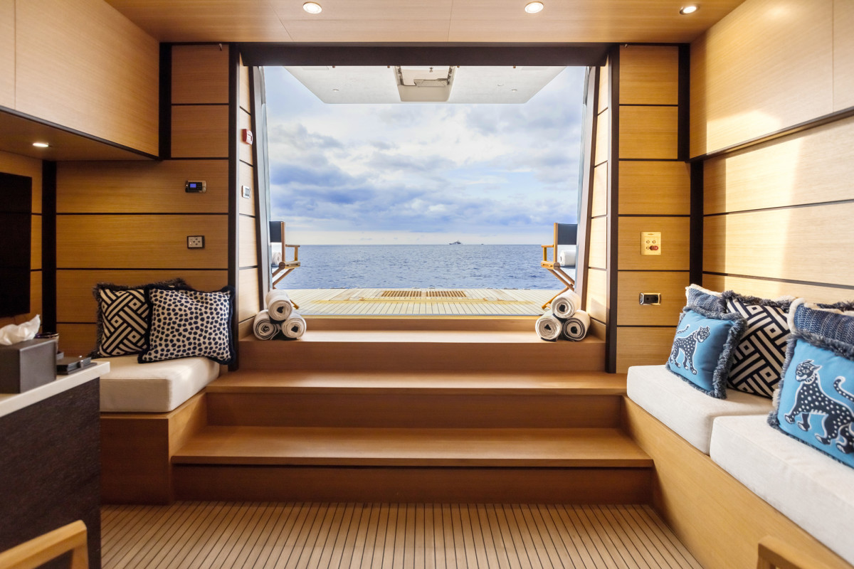 The newly refit beach club on board M/Y Harmony. (Photo: Blue I Productions)