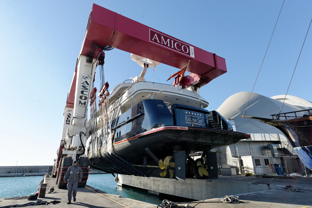 M/Y Kiss the Sky comes out of the water at the Amico & Co. yard in Genoa, Italy.
