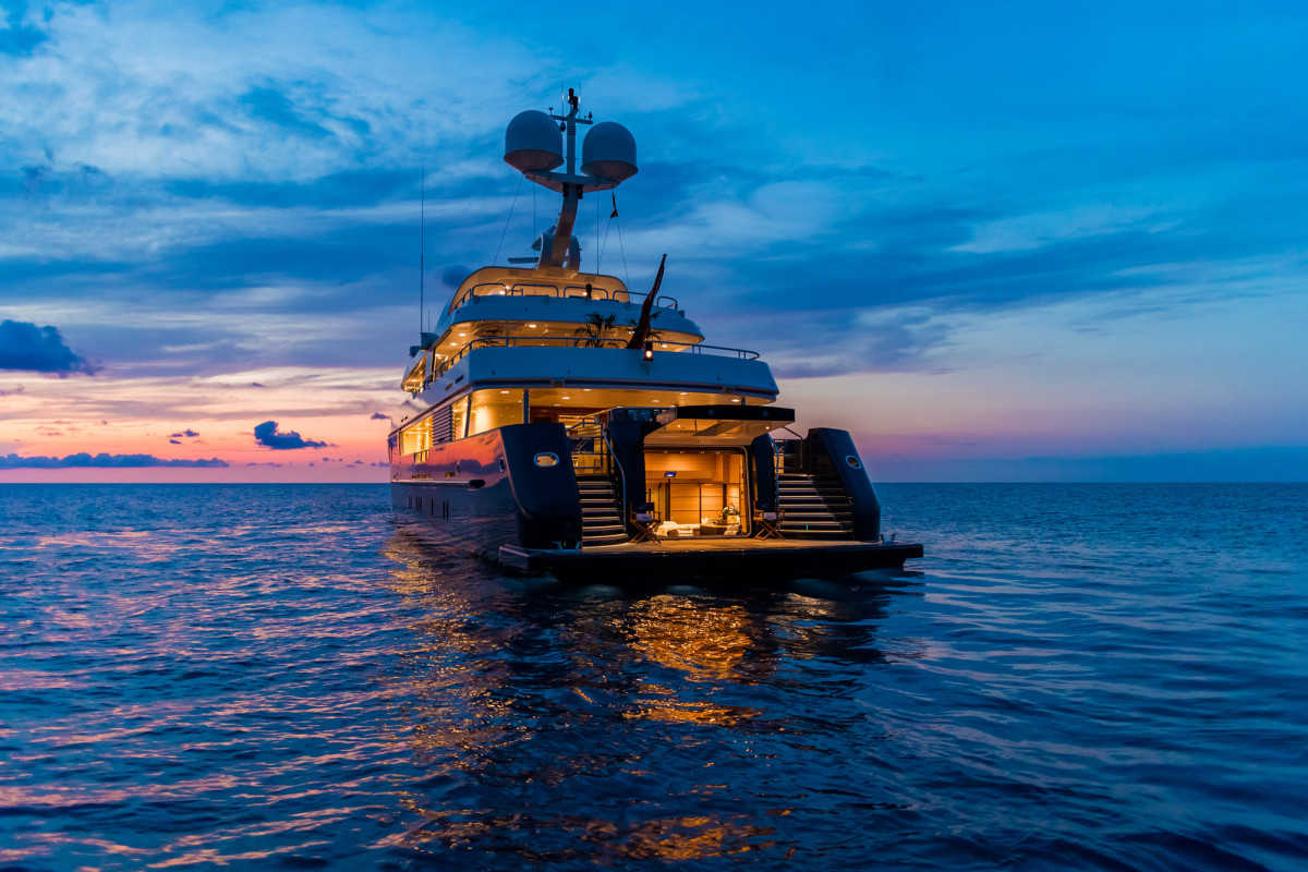 Amels 180-foot M/Y Harmony, having completed her refit. (Photo: Blue I Productions)