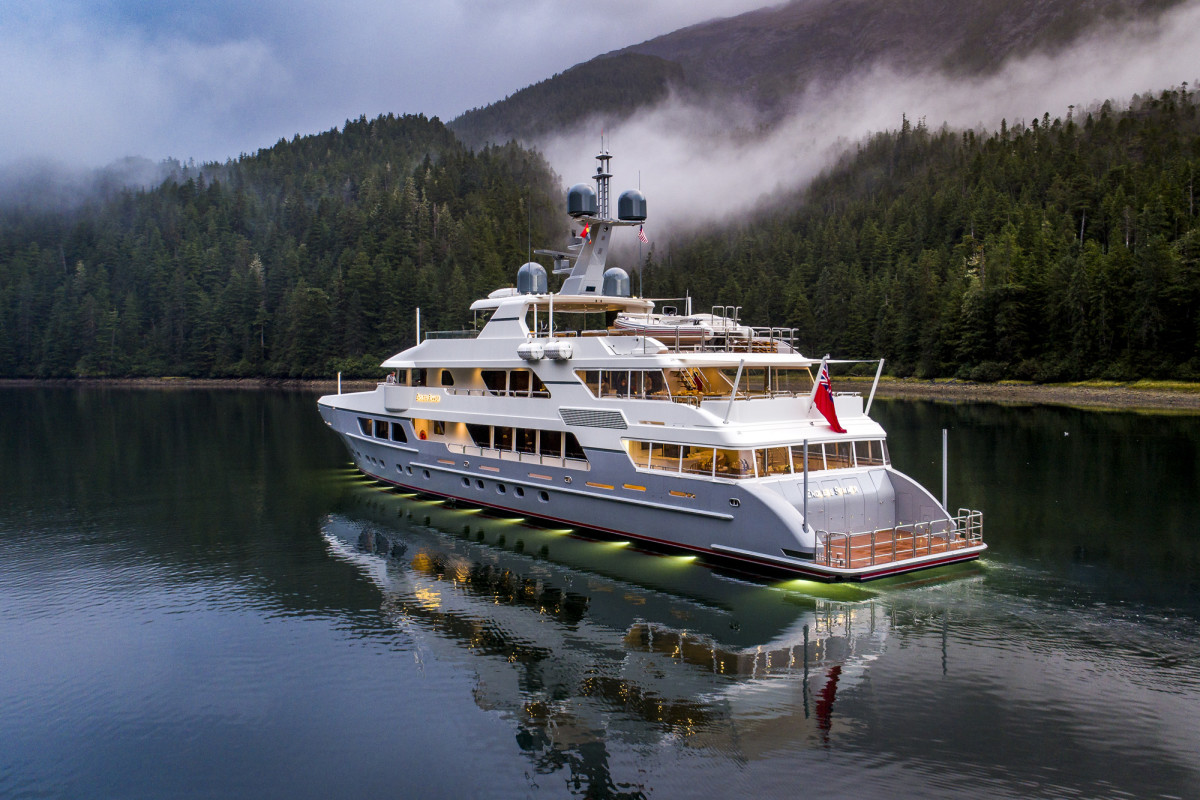 M/Y Endless Summer puts on a private light show during her shakedown cruise in the Pacific Northwest last summer.