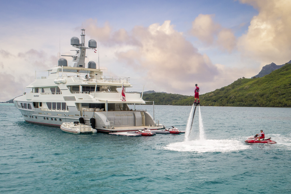 M/Y Endless Summer, with part of her tremendous arsenal of water toys, PWC and tenders on display.