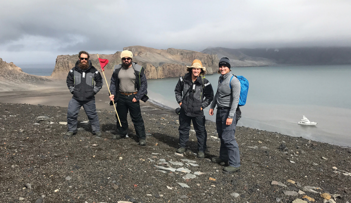 The crew poses for a picture on Deception Island, Antarctica. (From left) Alex George, Chase Smith, Mitch DeVries and Dalton DeVos