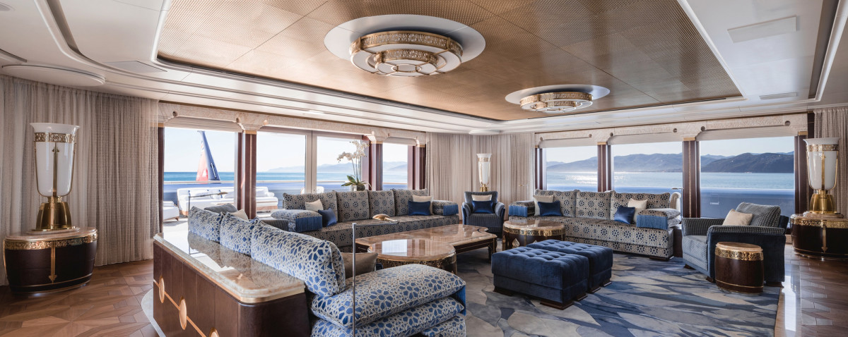 The sunny sky lounge benefits from natural light from large wraparound windows.