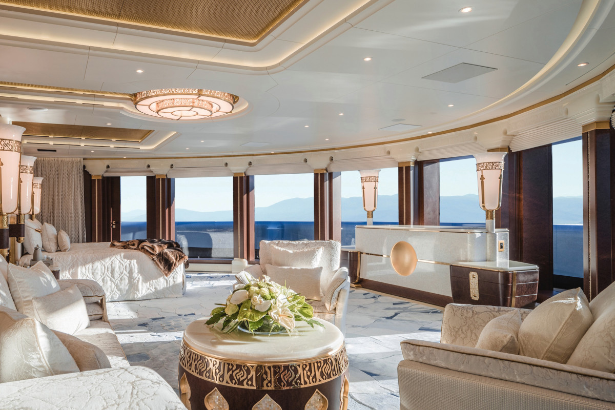 The master suite occupies the top two decks and has its own private access to the sundeck.