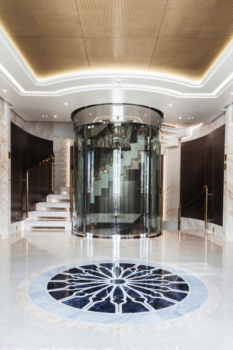 The large central glass elevator is wheelchair friendly.