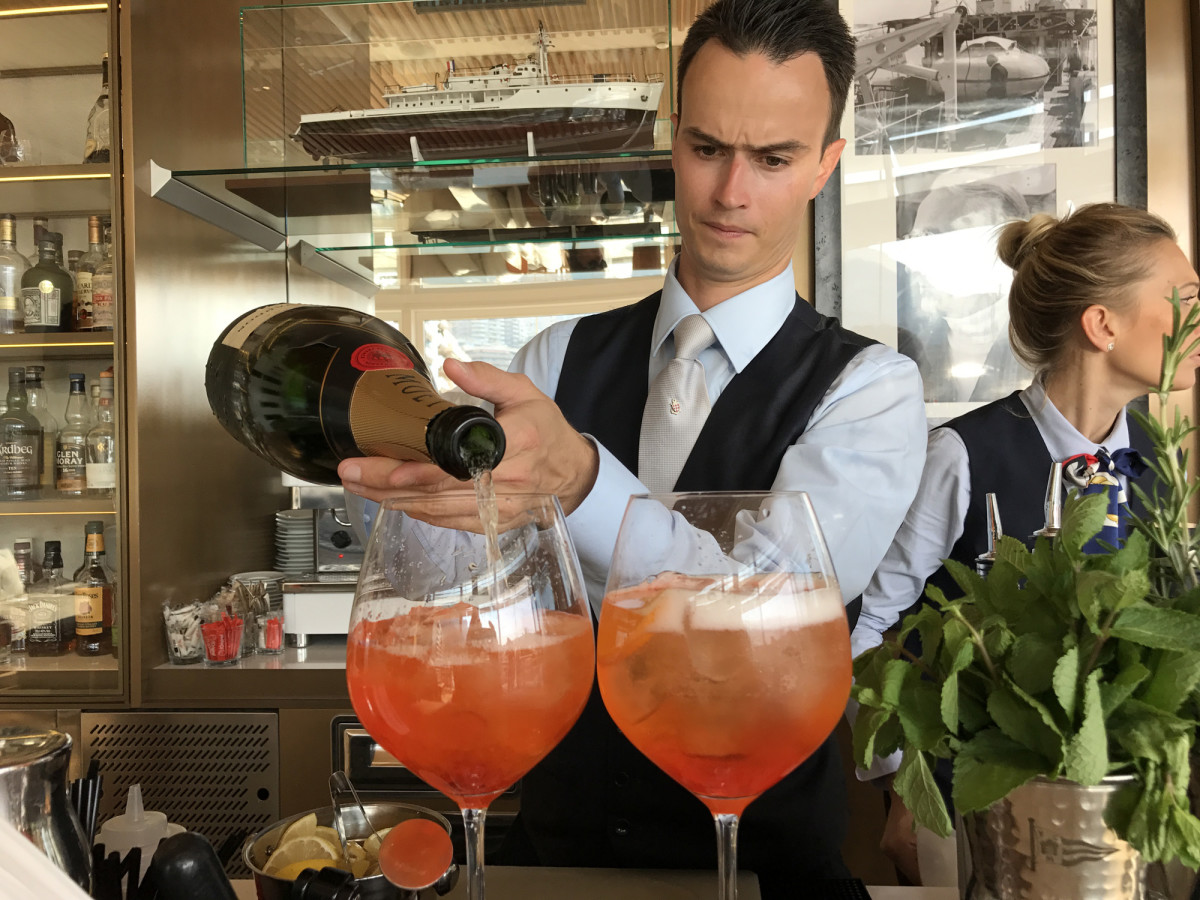 The Aperol Spritz, an aperitif cocktail consisting of prosecco, Aperol and soda water, is a popular order in most any establishment along the Côte D'Azur.