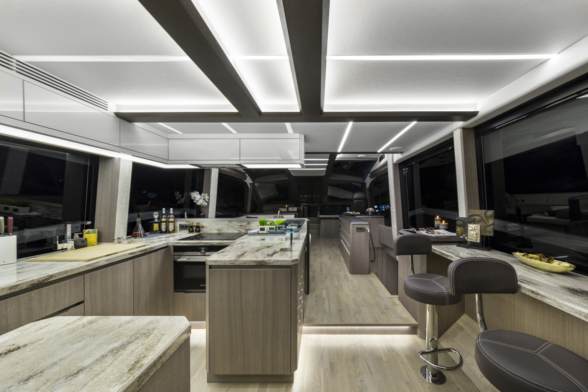 The Galeon 640's open interior layout is designed for entertaining large parties.