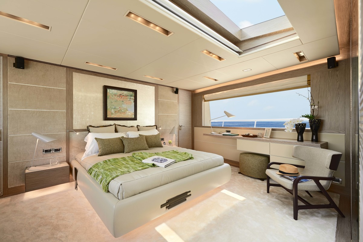 The full-beam master stateroom is located on the main deck, which allows for a skylight, making the room even brighter.