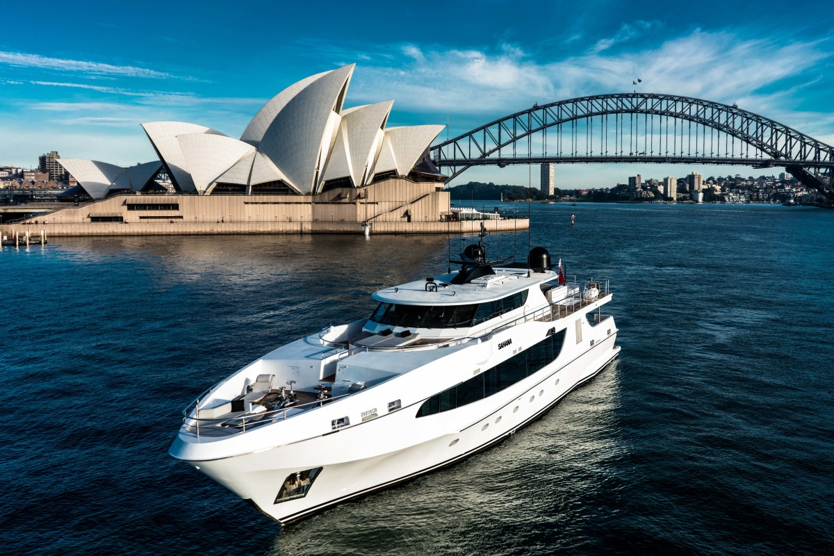 M/Y Sahana with the famous Sydney Opera House and Harbour Bridge