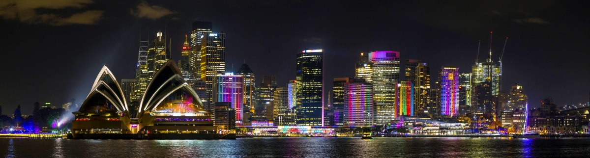 Sydney Opera House and downtown Sydney by night
