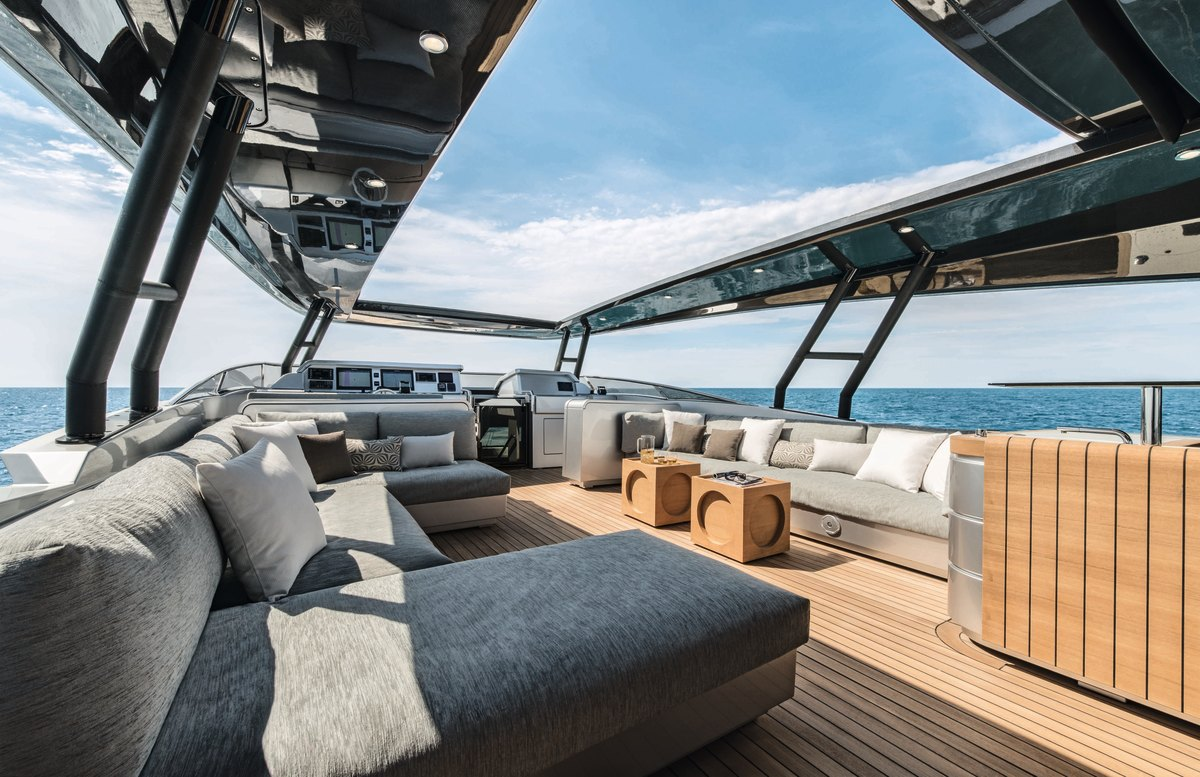 The flybridge combines hardtop with sunroof to provide alfresco living in all seasons.