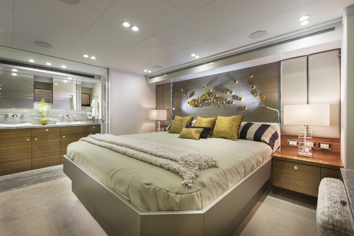 The ensuite master stateroom spans the nearly 20-foot beam.