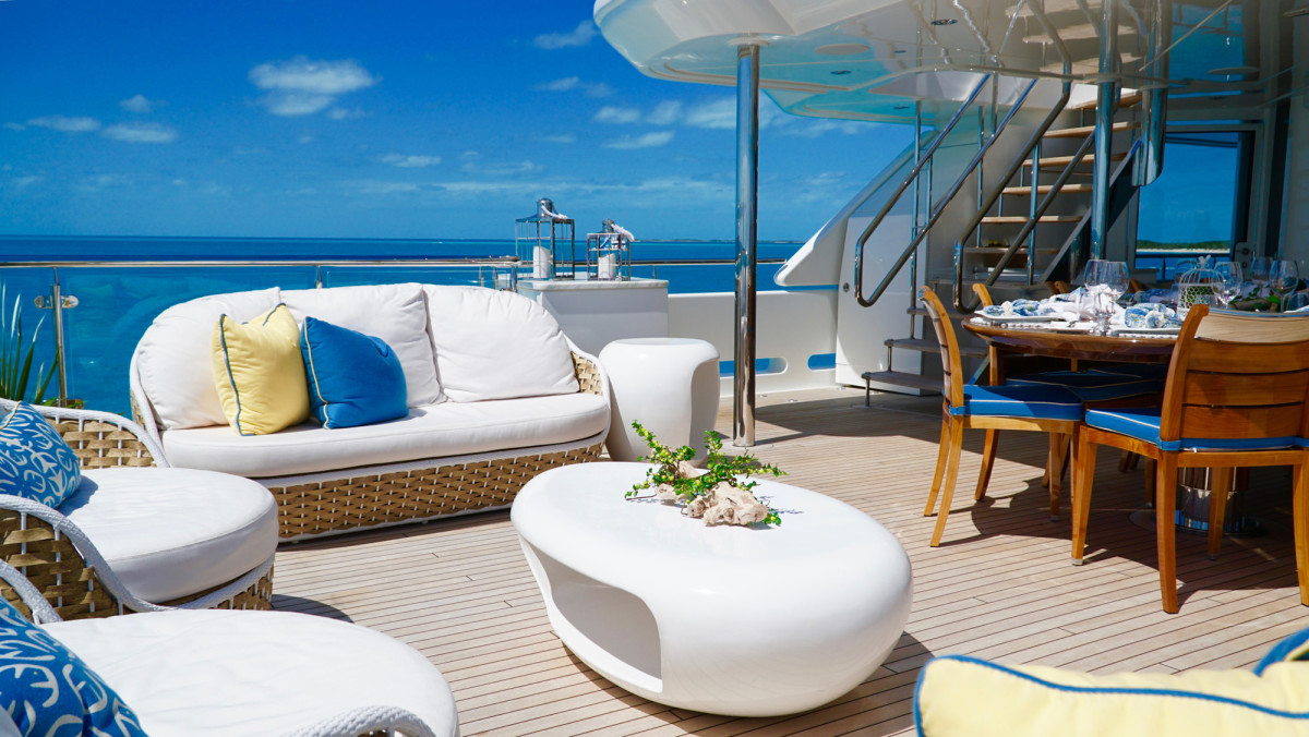 While the owner and his family prefer shade, he knows that some charter guests like sun, so the yacht offers both options.