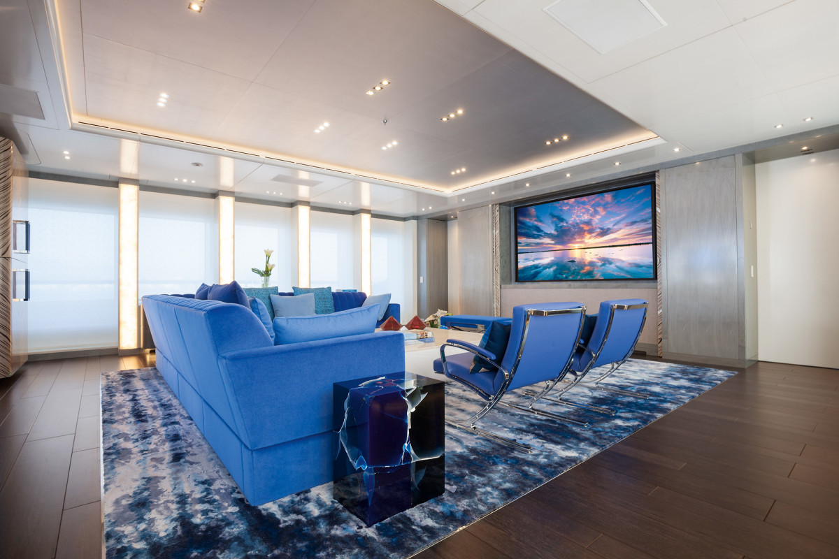 The Cohens are movie buffs and have a 98-inch screen for viewing films in their main-deck salon.