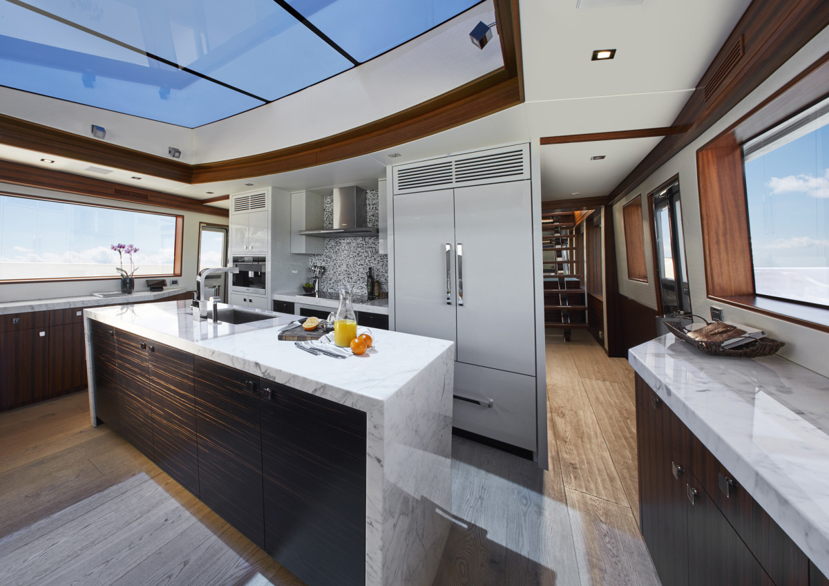 A skylight brightens the galley tremendously...