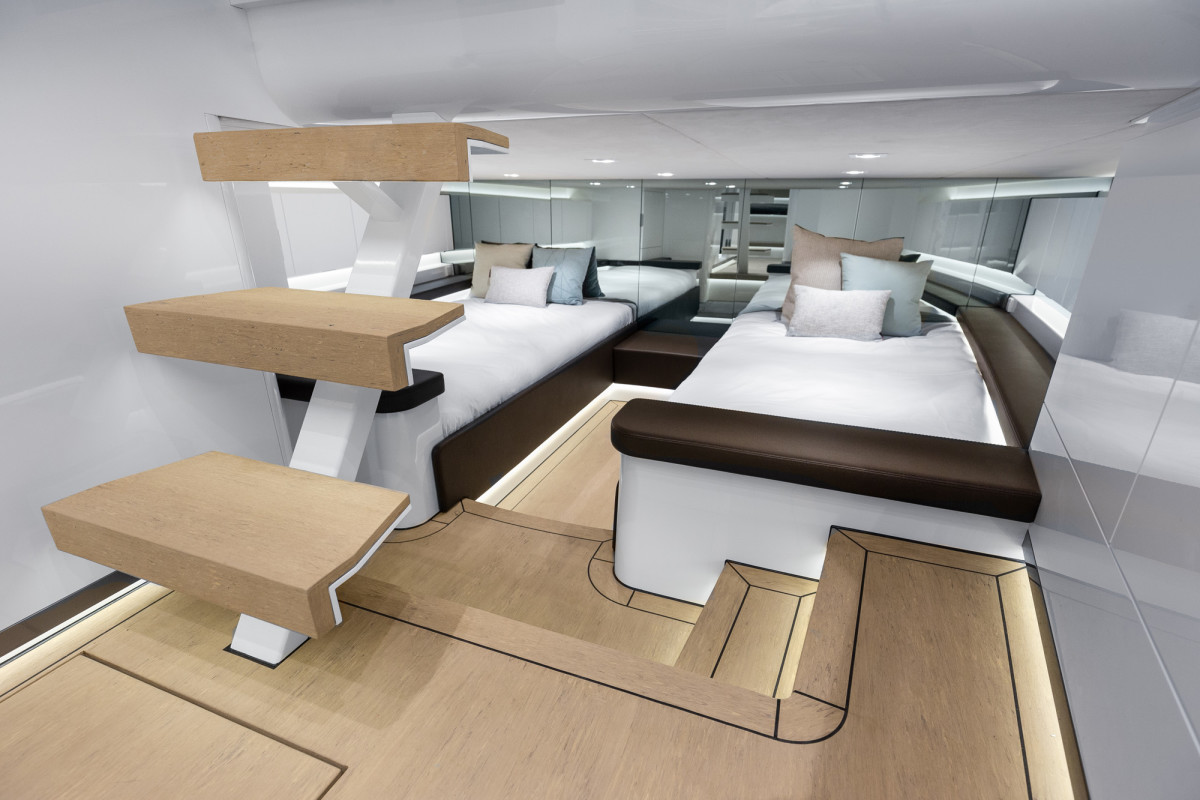 Within the 55's inviting contemporary interior are a galley, a day head and accommodations for six.
