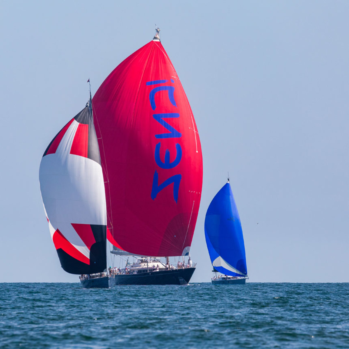 The 184-foot Perini-Navi ZENJI racing in the 2019 Candy Store Cup.