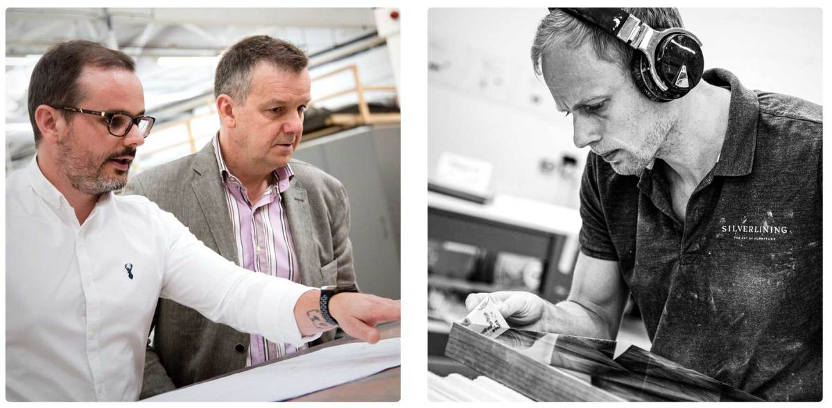 Left: Silverlining founder Mark Boddington (right) reviews a project with his head of production, Luke Briggs. Right: High-tech CNC machinery might have transformed the furniture maker's art, but each piece is lovingly finished by hand.