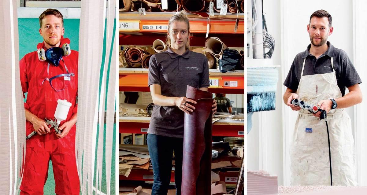 Jason Roberts, CNC machinist; Alissa Brown, leather crafter; Daniel Lloyd-David, finisher.