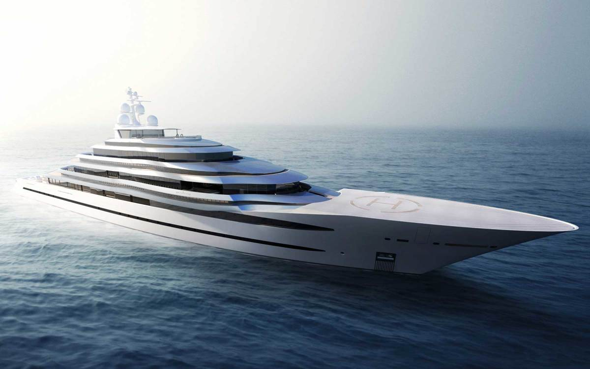The 361-foot (110-meter) Oceanco Jubilee, launched in 2017, has two illusory decks to make the yacht's profile read horizontally rather than vertically, thus creating a low-lying profile;