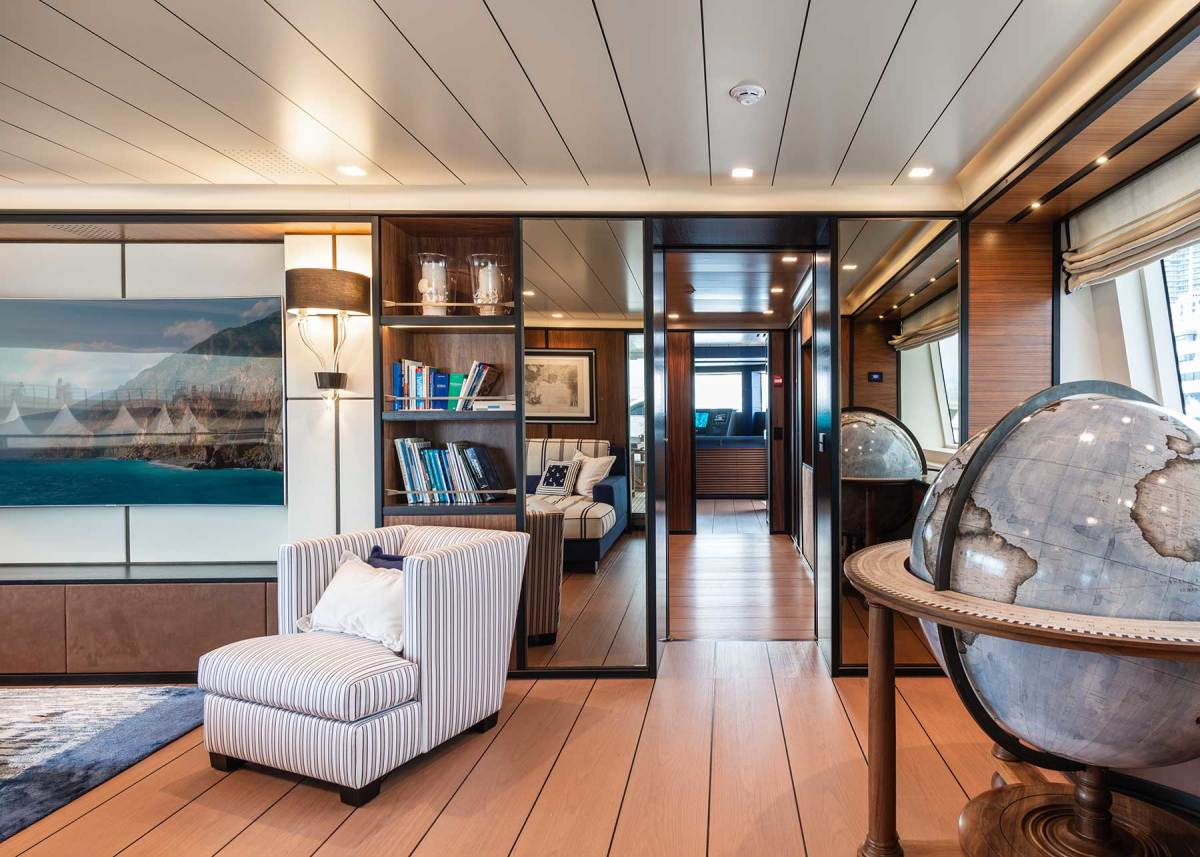 The Bellerby globe aboard the CBI Navi Stella di Mare. There is also a specially commissioned circular wall map in the main salon.