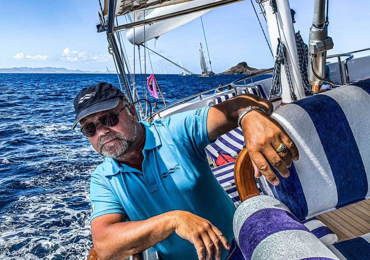 Udo J. Vetter takes the helm during the 2019 St. Barths Bucket.