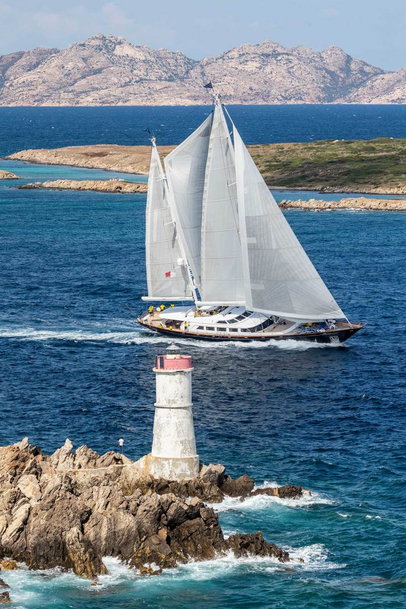 The Aquarius under a full set of sails in the 2018 Perini Navi Cup in Sardinia, Italy, her owner's first superyacht regatta.