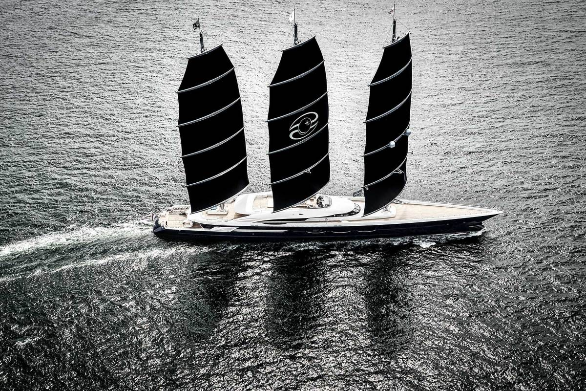 Launched by Oceanco in 2016, 350-foot (106.7-meter) Black Pearl is only the second superyacht to carry a DynaRig. Fitted with various regenerative technologies, she is able to cross the Atlantic without burning any fossil fuels.