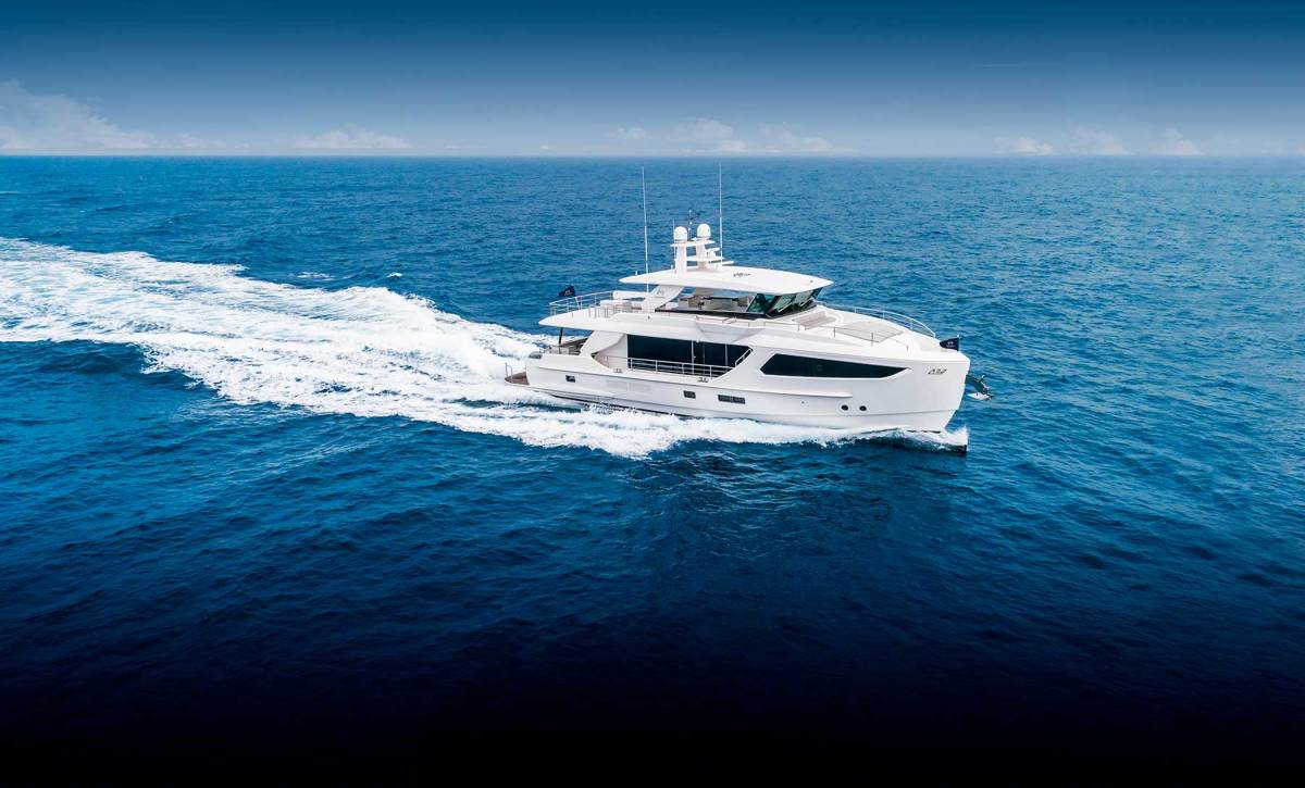 The untraditional profile conceals large-yacht features, such as a main deck master stateroom and an upper deck that extends from bow to stern. Note the wing stations to please the skipper. Just visible is the piercing bow that adds hull efficiency while reducing pitching.