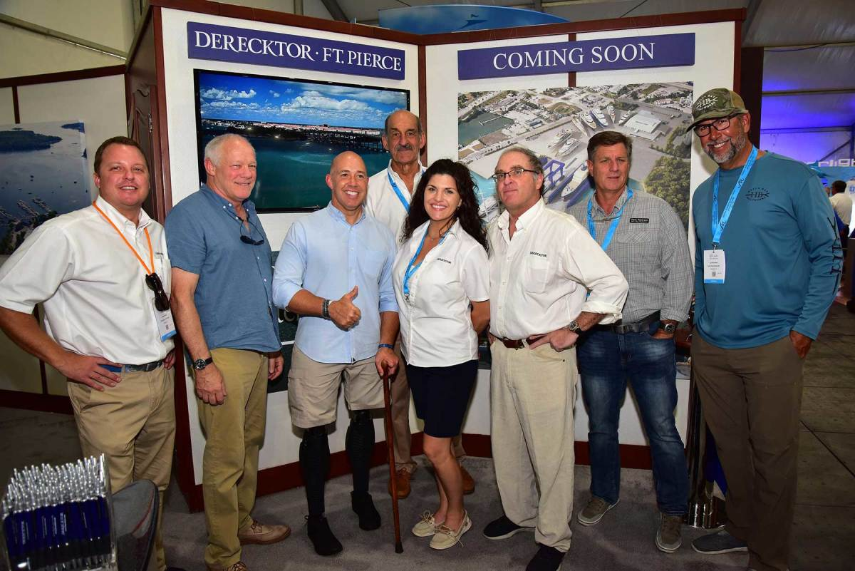 Congressman Brian Mast visits with the Derecktor Ft. Pierce team during the 2019 Fort Lauderdale International Boat Show. Derecktor Ft. Pierce officially opened for business on November 1.