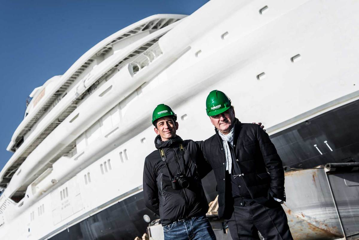 Espen-Oeino-and-Jeremy-Staddon-at-the-launch-of-AMELS-78-metre-full-custom-superyacht