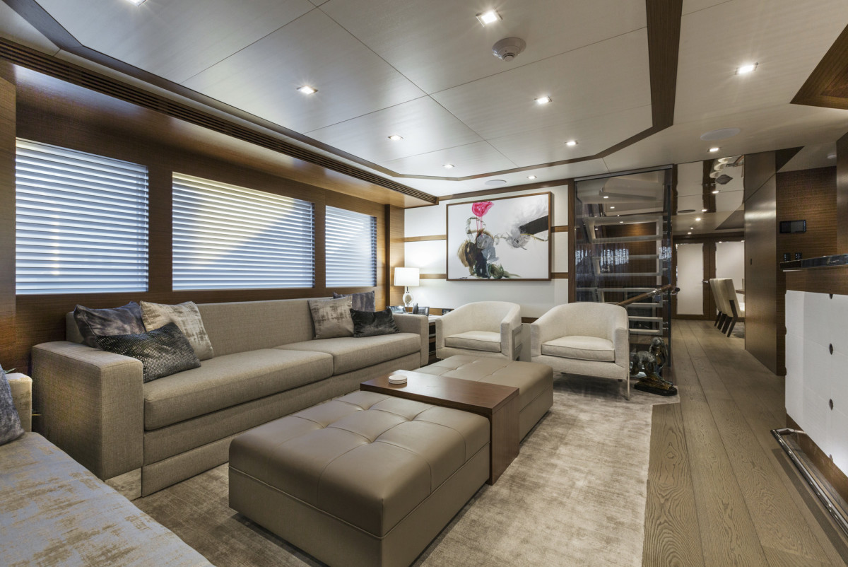The DeBasto-designed salon aboard Burger Boat Company's M/Y Northland.