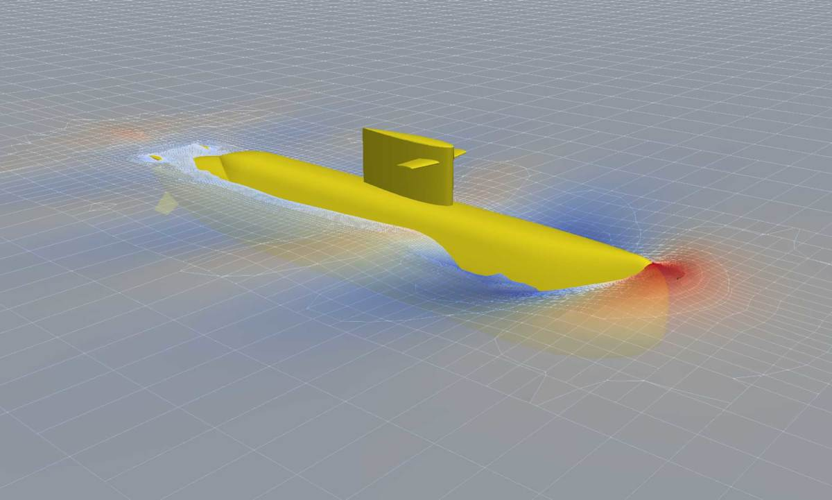 CFD models depicting vortices created by a submerged submarine underway and wave pressures when surfaced