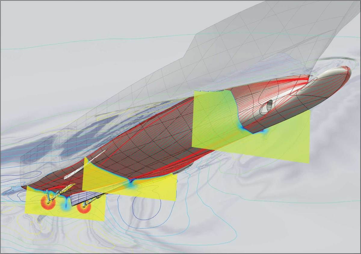 A CFD model depicting a motoryacht equipped with Hull Vane during resistance tests.