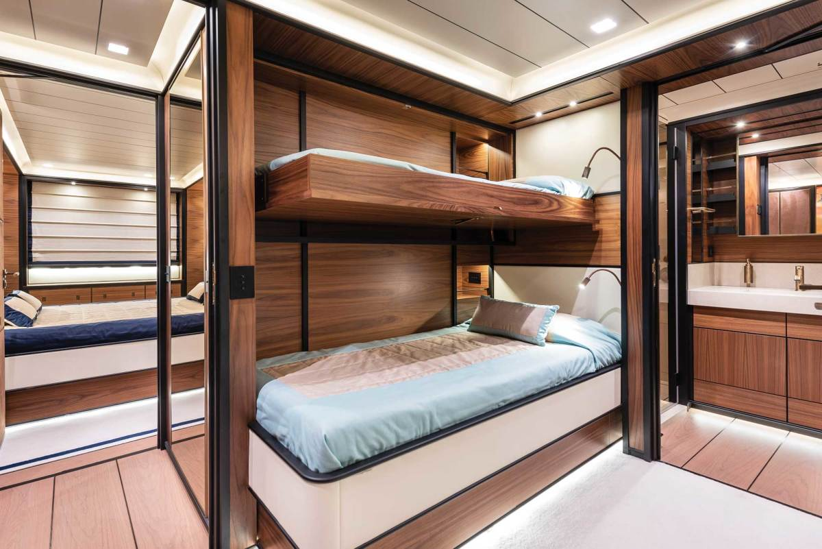 Pullmans in the twin-berth staterooms mean the yacht can sleep 14 on private cruises.