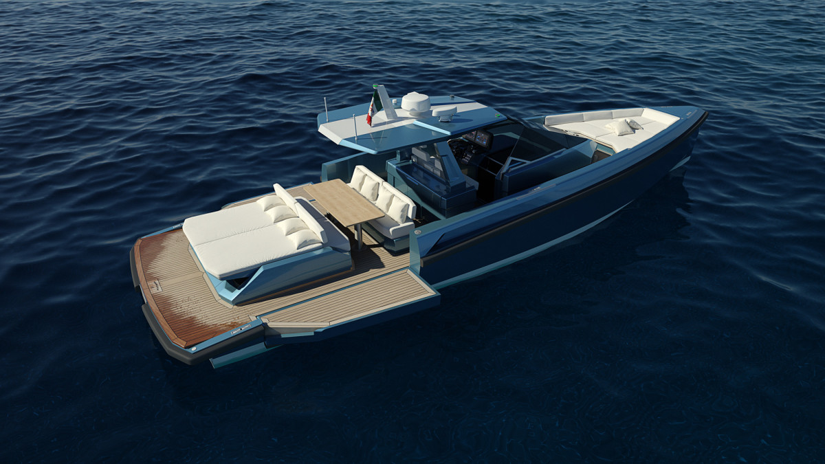 The 48 Wallytender's swim platform can be extended with fold-down bulwarks.