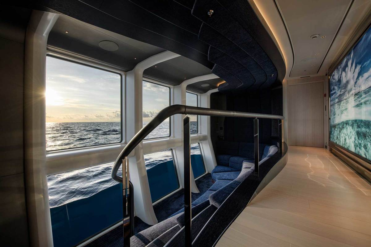 The 'neptune' lounge offers amazing views above and below the waterline. Tiered seating allows viewing fun for adults and children while the yacht is underway.