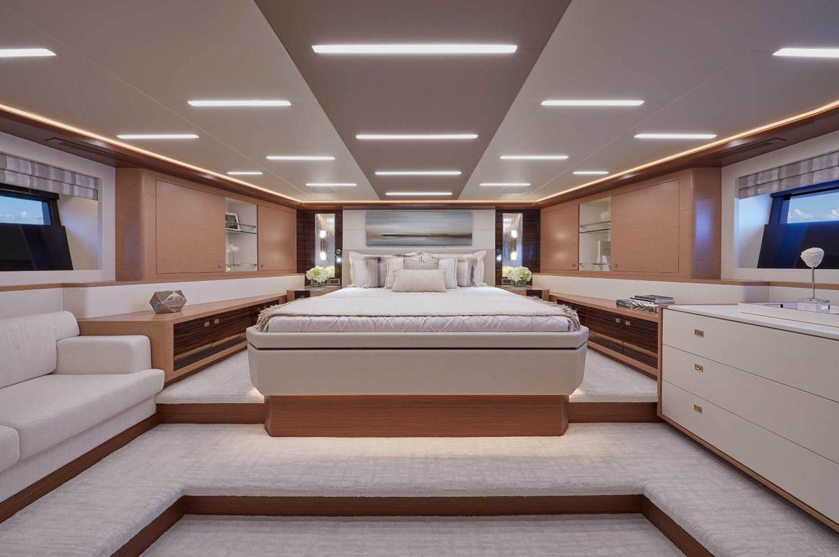 The VIP stateroom benefits from the raised foredeck, with a walk-around berth and comfortable sofa.