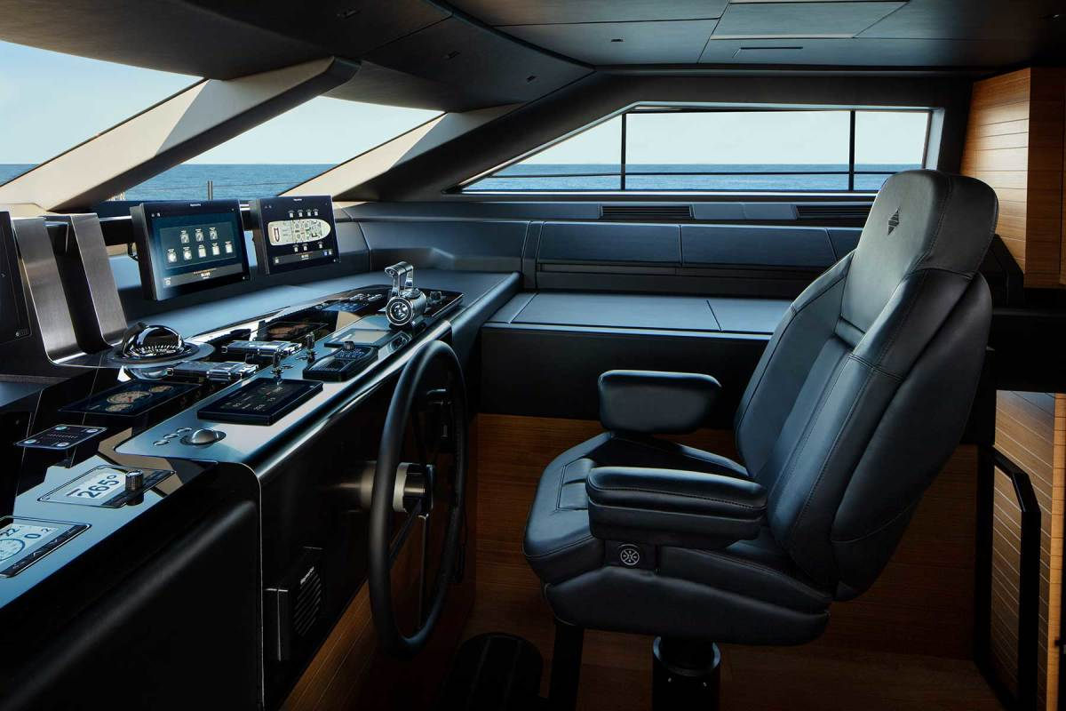 The leather-clad raised pilothouse offers a sheltered option to the open flybridge.