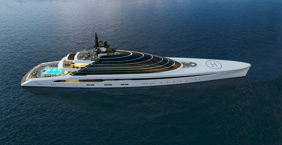 Vector is a 344-foot concept yacht. The superstructure is not a dome, but sole-to-ceiling glazing where the horizontal lines at each deck are all polished stainless steel.