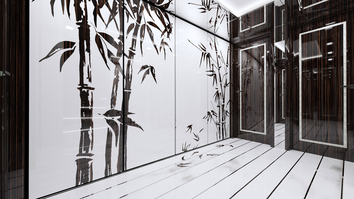 The lower foyer of the 174-foot Tala, in build at Turquoise Yachts, shows bamboo brushwork made of Macassar wood inlaid in the marble. Note the leaves falling to the sole.