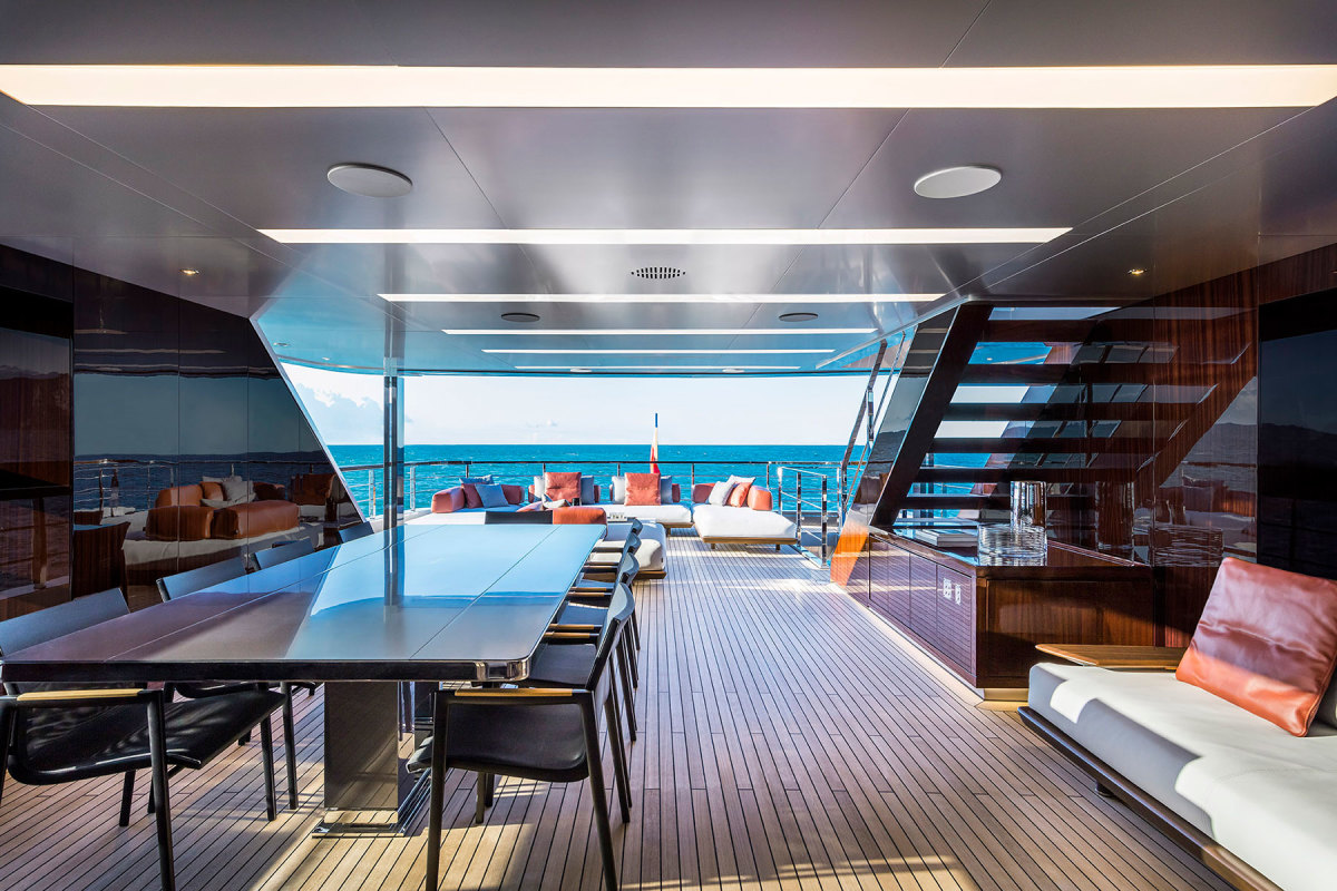 Alfresco  dining on the upper deck aft.