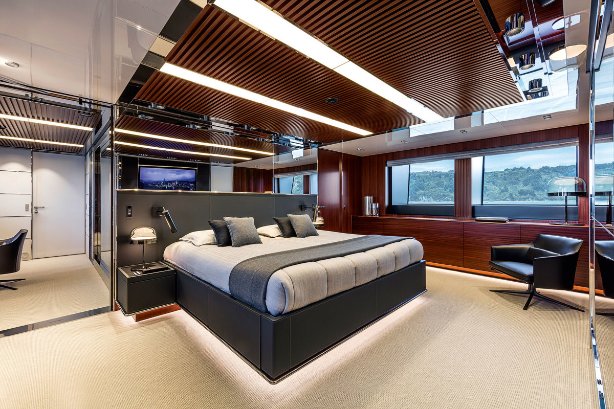 The master stateroom in pride of place on the main deck forward.