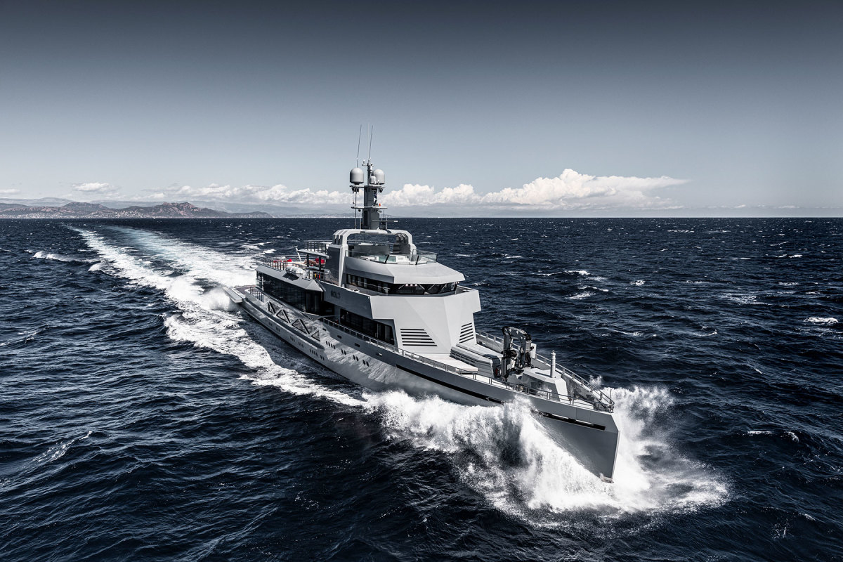 Why the military look? Designer Espen Øino says that at the time of Bold's conception, there had been a surge in piracy in Indonesia and Africa. The styling, he and Guido Krass believed, might act as a deterrent when cruising off the beaten track.