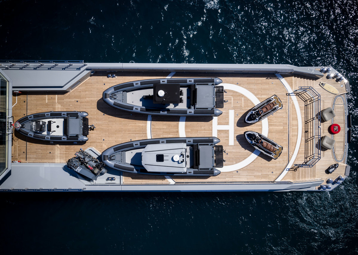 Altogether, Bold has 8,000 square feet of outside deck space for activities. The main deck is home to the certified helipad, which has plenty of space for tenders and toys when the helicopter is not on board