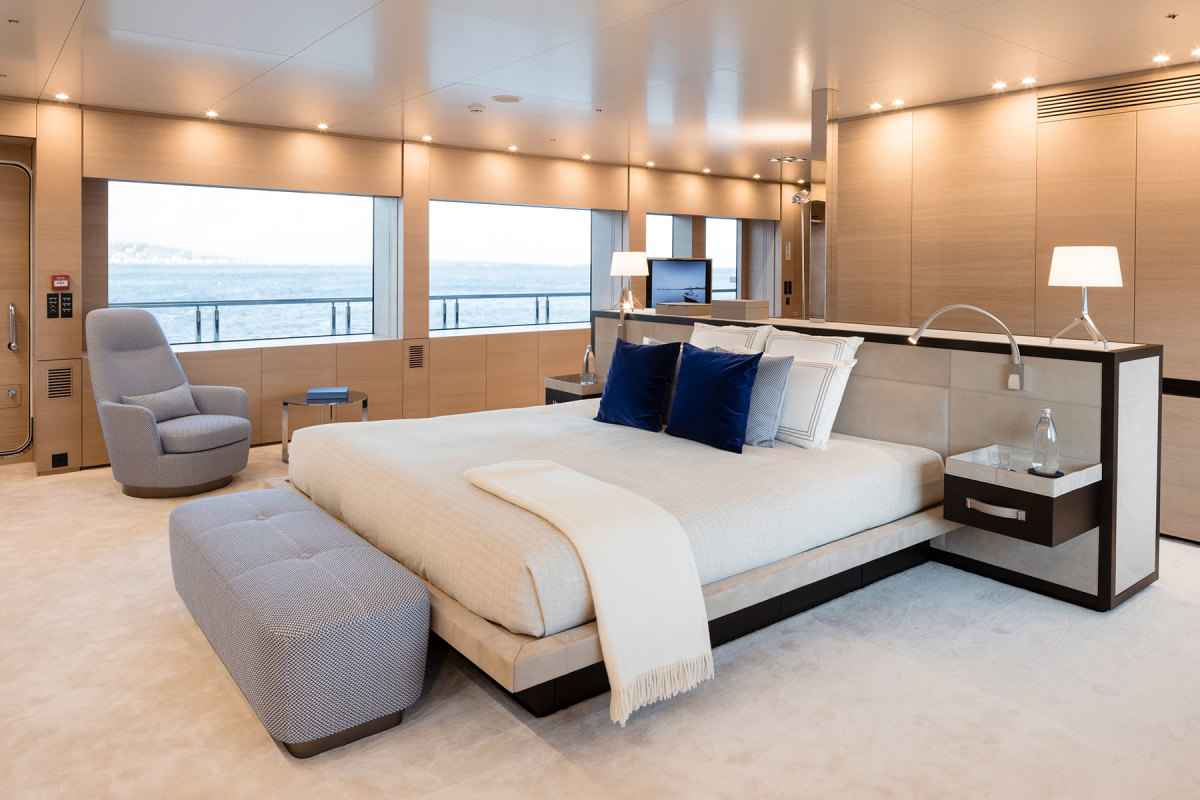 The master stateroom, forward on the upper deck, is sophisticated and luxurious, with silk carpet, leather detailing and oak veneer finishes.