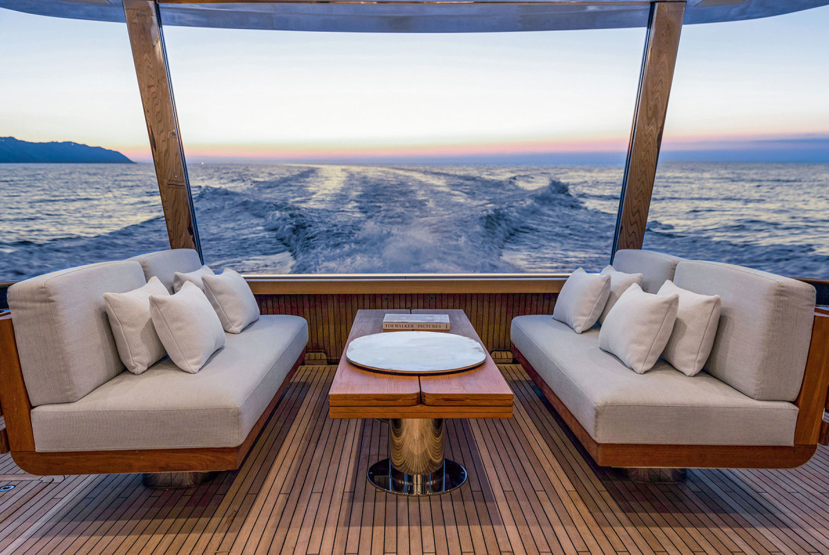 The aft deck seating overlooking the stern.