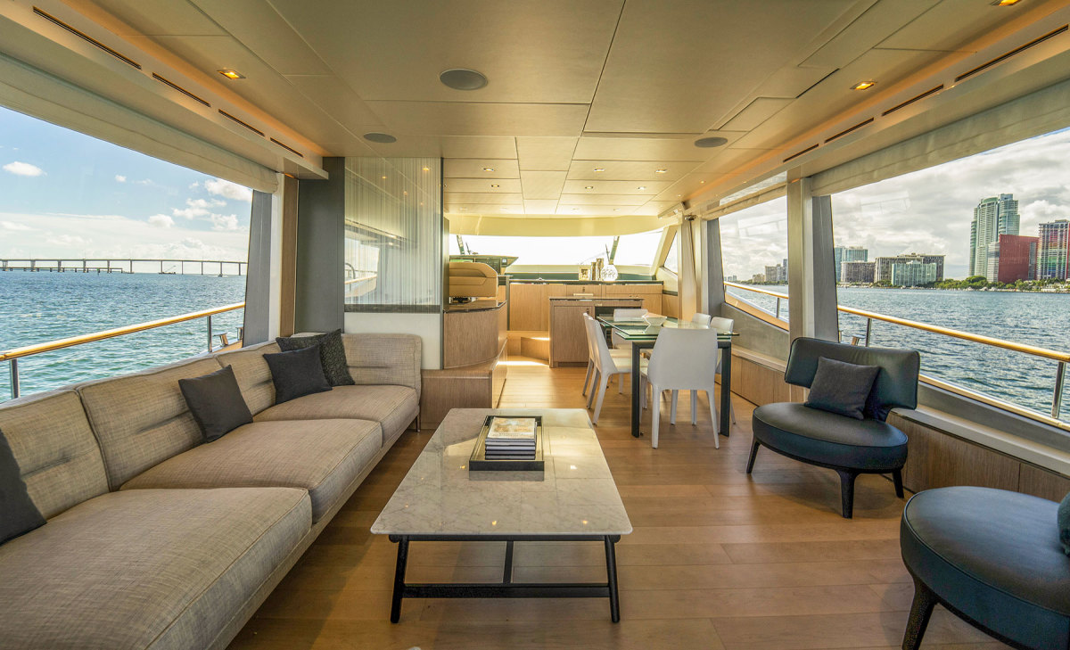 Extensive glazing in the salon gives the skipper and guests unobstructed sightlines.